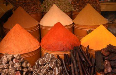 Spice cones in moroccan market